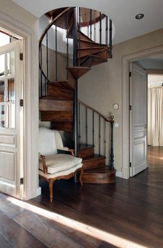 Awesome wooden spiral staircase just on indoneso.com Spiral Staircase For Sale, Spiral Staircase Dimensions, Staircase Design, Tiny House, Small Spaces, Stairs, Home Decor, Awesome, Home