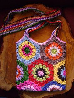 Crochet hexagon granny bag