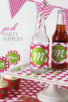 Polka dot party decorations ~ over 20 color combinations and 8 fonts to choose from #pinkpartyideas #polkadot #partyideas