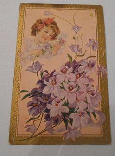 Vintage Postcard  Embossed Floral Divided Back Unposted Child   5064