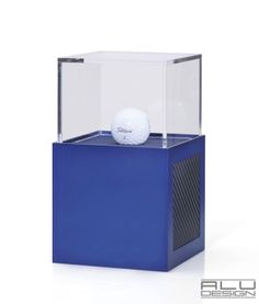 Luxury Modern Golf Ball Display Case Anodized Blue Aluminum with Black Carbon Fiber look. Modern Golf Ball Display. Add your logo, HOLE IN ONE LOW ROUND COURSE RECORD or Trophy, German Design MADE IN USA by ALU DESIGN