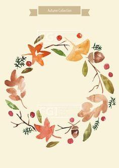 U160921, 유자디자인, 일러스트, 가을, 식물, 백그라운드, 단풍잎, 은행잎, 추석, 한가위, 가을세일, 리스, 크리스마스, 인테리어, 정원, 조화, 화원, 꽃집, 꽃가게, 잎, 나뭇잎, 수채화, 수작업, 라인일러스트, 북유럽, 녹색, 연두, 갈색, 일러스트레이션, 패턴, 엽서, 카드, 이벤트배경, 낙엽, 시즌, 풍경, 가을배경, 삽화, 배경이미지, 꽃,#유토이미지 Wreath Watercolor, Watercolor Cards, Watercolor Flowers, Autumn Doodles, Fall Color Schemes, Green Art, Doodle Drawings, Illustrations And Posters, Pretty Art