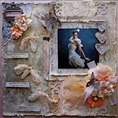 "Scraps of Elegance scrapbook kit club - Renea Harrison created this gorgeous shabby chic layout, featuring a photo of ballerina Misty Copeland, with our March ""Anna's Daydream"" kit. Find our kits here: www.scrapsofdarkness.com"