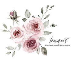 Free Advertising, Print Templates, Dusty Pink, Watercolor Flowers, Digital Illustration, Pink Flowers, Digital Prints, Wedding Invitations, Clip Art