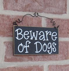 Free Shipping - BEWARE OF DOGS Sign  (Black) for home and office hanging sign by lisabees on Etsy