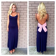 How Low Can You Bow Maxi Dress - NAVY