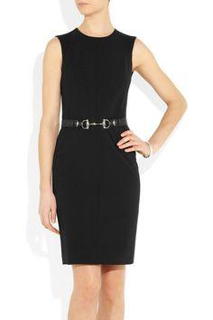 Black stretch wool-twill Push-stud fastening leather belt with horsebit detail, fully lined Concealed zip fastening along back 97% wool, 3% elastane; lining: 96% silk, 4% elastane Dry clean