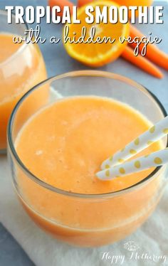 Are you looking for yummy smoothie recipes you can sneak a veggie into? This Tro… Are you looking for yummy smoothie recipes you can sneak a veggie into? This Tropical Smoothie recipe features a hidden veggie. Your kids will never know! Tropical Smoothie Recipes, Veggie Smoothies, Smoothie Recipes For Kids, Raspberry Smoothie, Yummy Smoothies, Baby Juice Recipes, Kid Veggie Recipes, Mango Pineapple Smoothie, Veggie Snacks