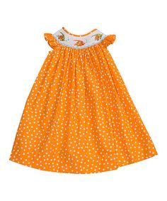 Look what I found on #zulily! Orange Polka Dot Fish Angel-Sleeve Dress - Infant & Kids #zulilyfinds