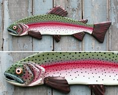Rainbow Trout Wood and Copper Folk Art Fish Wall Art 34 Folk Art Fish, Fish Wall Art, Wood Fish, Metal Fish, Phish, Fish Sculpture, Wall Sculptures, Fisher, Fish Drawings