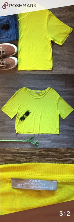 Z A R A • NEON CROP TOP Super Soft Zara neon yellow crop top!                                  • Size M                                                                                   • Has a very small pick on the front.                                    • Length: 20 inches long. Width: 19 inches. Zara Tops Crop Tops