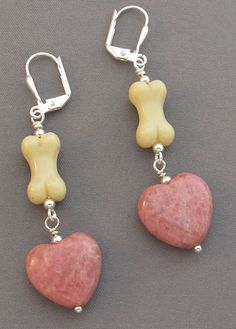 Dog Bone Earrings Pink Hearts Silver Jewelry  at For Love of a Dog