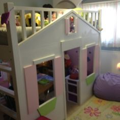 Playhouse loft bed Pb style but my husband built  from scratch to fit our daughters queen size bed can't keep her out