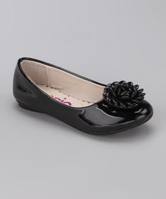 Take a look at this Black Patent Flower Ballet Flat by kensiegirl on #zulily today!