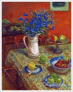 Margaret Olley (Australian, 1923 - 2011) «Cornflowers and Indian Rug»