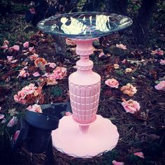 Bird Bath from old lamp, cake stand, and platter. Painted pink :)