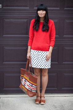 2013. spotify. betsy sweater by j.crew. dalmation print skirt (found on ebay). lotta from stockholm clogs. pendleton canyonville tote.