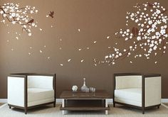 Cherry blossoms tree Wall Decal Wall Sticker tree decals Cherry blossom Wall Decals Vinyl baby nursery room wall decal living room bedroom on Etsy, $69.99