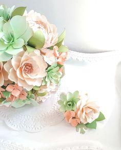 Peach and Mint Wedding - Spring Wedding - Paper Bouquet - Succulent Wedding - Bridal Paper Bouquet - Succulent Bouquet - Peach - Mint - Succulent - Paper Flowers - Wedding Bouquet - Custom Bouquets