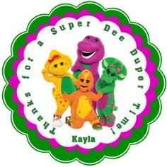 Barney and friends Personalized Stickers - Party Favors - Birthday Stickers - Gift Tag - reference number (23) on Etsy, $5.50