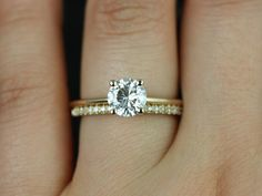 Skinny Alberta 6.5mm & Romani 14kt Yellow Gold Round FB Moissanite and Diamonds…