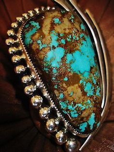 NAVAJO-HIGH-QUALITY-TURQUOISE-CABOCHON-FEATHERS-RING-72gr-CHAVEZ-Sterling-Silver