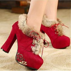Womens Boots | Charming Suede Artificial Short Villi Red Round Closed Toe Chunky Super High Heel Boots - Hugshoes.com