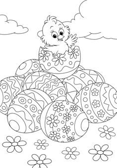 Easter Egg Coloring Pages, Coloring Sheets For Kids, Cute Coloring Pages, Free Printable Coloring Pages, Coloring Books, Free Printables, Easter Projects, Easter Crafts, Easter Puzzles