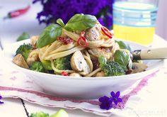 Kremet spaghetti med kylling, soltørket tomater og champignon | Elin LarsenElin Larsen
