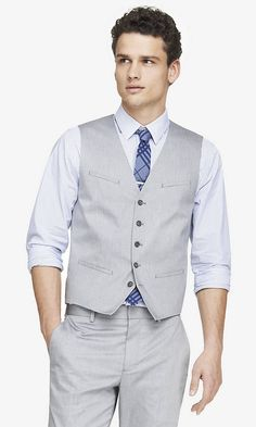 light gray oxford cloth suit vest from EXPRESS Grey Vest, Grey Pants, Toddler Boy Curly Haircuts, Wedding Waistcoats, Suit Vest, Suit Separates, Groom Attire, Mens Suits, Oxford