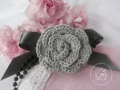 romantic grey brooch