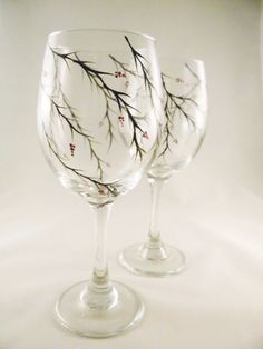 This festive set of two wine glasses is hand painted with black winter tree stems with red winter berries. Perfect for the Holidays! These are 20