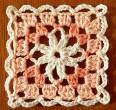 Square crochet in shades of tea with a sweet-orange tree Crochet Squares Afghan, Crochet Quilt, Granny Square Crochet Pattern, Crochet Blocks, Crochet Chart, Crochet Blanket Patterns, Crochet Motif, Crochet Designs, Knitting Patterns