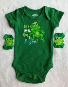 Cute Frogie Newborn Boys Onsie with matching Frogie Barefoot Sandals.  There is two different sets of Frogie sandals and you have to choose.  Great for a Baby Boys Shower Gift or something Cute for a photo shoot.