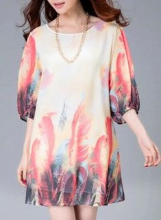 GET $50 NOW   Join RoseGal: Get YOUR $50 NOW!https://m.rosegal.com/chiffon-dresses/stylish-scoop-neck-feather-print-363803.html?seid=6110022rg363803