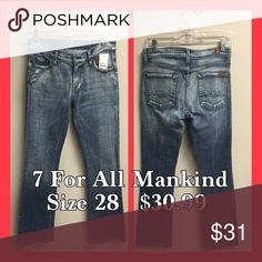 Size 28 woman's 7 For All Mankind These jeans are in great condition! 7 For All Mankind Jeans Straight Leg
