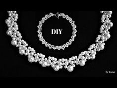 How to make a beaded necklace in less than 15 minutes for a little black dress or for a bride - YouTube