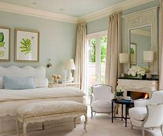 TARA DILLARD: Hotel Perfect Bedroom + Pretty Privacy, color, bed, bench, chair, French doors, mirror, natural light