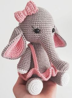 Amigurumi elephant pattern in pink suit. Do you like this design? For beginners,. - Amigurumi - Amigurumi elephant pattern in pink suit. Do you like this design? For beginners, you can find amigu - Amigurumi Elephant, Amigurumi Doll, Easy Knitting Projects, Crochet Projects, Crochet Patterns Amigurumi, Crochet Dolls, Crochet Elephant Pattern Free, Crochet Baby, Costume Rose