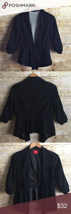 """Stylish Pleated Jacket Like new condition!  No stains or damage! Super soft outer feels suede like.  Fully lined.  Both shell and lining 100% polyester.  Scrunched 3/4 sleeves, single clasp closure in front, pleats in front and back. Incredibly flattering and easily dressed up or down.      🔹Bust = 17"""" length = approx 20"""" in back. Slightly longer in front on either side = 24.5"""" Elle Jackets & Coats Blazers"""