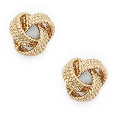 Rope-like textured stud earrings in a gold-toned metal. Jewelry Knots, Affordable Jewelry, Earring Set, Stud Earrings, Pearls, Girls Wear, Metal, Polyvore, Classy