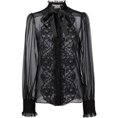 Dolce & Gabbana floral lace bib blouse ($1,590) ❤ liked on Polyvore featuring tops, blouses, shirts, black, see through blouse, long sleeve lace top, long sleeve lace shirt, sheer lace blouse and sheer long sleeve shirt