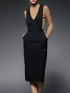 Shop Black Plunging Neck Sleeveless H-line Plain Midi Dress Online. The world's most-coveted and unique designer apparel - Sexyplus everyday. Vintage Midi Dresses, Vintage Outfits, Vintage Fashion, Mode Outfits, Dress Outfits, Modest Fashion, Fashion Dresses, Dress Skirt, Dress Up