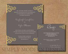 Modern Grey and Yellow Curls Wedding Invitation & RSVP card set - Custom Colors - Digital File - DIY Printable. $22.50, via Etsy.