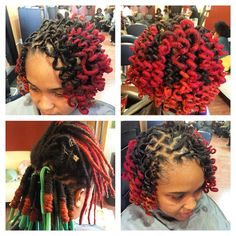 Loc curls and color by me Pstyles! Short Dread Styles, Dreads Styles For Women, Short Dreadlocks Styles, Short Locs Hairstyles, Dreadlock Styles, Curly Hair Styles, Cool Hairstyles, Locs Styles, Natural Hair Care