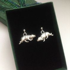 Sterling silver Border Collie Charm Ear-Rings