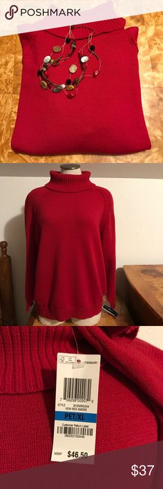 """NWT Valentine's Red Turtleneck Sweater This warm, 100% cotton sweater will be a perfect choice for you for a cool Valentine's Day dinner! The PXL measures 22 1/2"""" armpit to armpit, the XS measures 18"""", and the XXL 23 1/2"""". Currently living in a smoke-free and bundle-happy closet. Karen Scott Sweaters Cowl & Turtlenecks"""