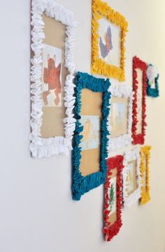 cereal boxes and ruffled fabric--makes cute kid's artwork display-play room Toddler Art Projects, Diy Craft Projects, Craft Tutorials, Crafts For Kids, Arts And Crafts, Displaying Kids Artwork, Artwork Display, Cool Artwork, Art Wall Kids