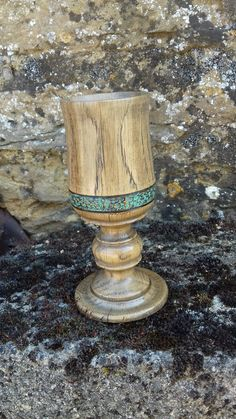 A goblet turned from an old oak roof beam. Uphillcottagestudio