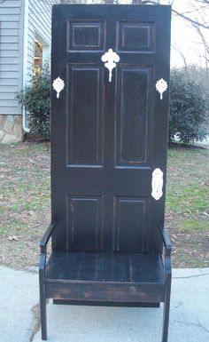 Rustic Chic Black Hall Tree Bench Coat Rack by foryournest on Etsy, $250.00
